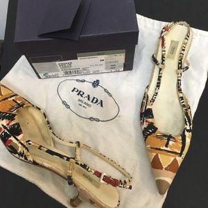 Prada sling back shoes EU38 multi linen preowned